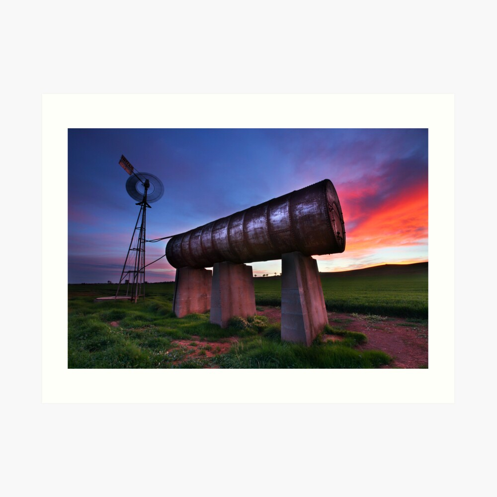 Windmill Sunrise, Central Victoria, Australia Art Print