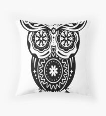 an owl with different decorations in the style of the Mexican Sugar Skulls Throw Pillow