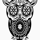 an owl with different decorations in the style of the Mexican Sugar Skulls by Julianco