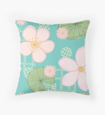Zen Floral - Cherry Blossoms, Water Lilies and Lily Pads Throw Pillow