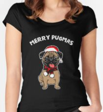 Merry Pugmas T-Shirt Funny Dog Lover's Men Women's Tee Women's Fitted Scoop T-Shirt