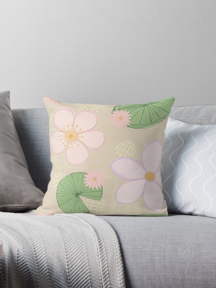 Zen Floral - Cherry Blossoms, Water Lilies and Lily Pads - Beige by clairesalisbury
