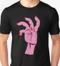 Glossy Top Coat: Pink and Red on Black T-Shirt