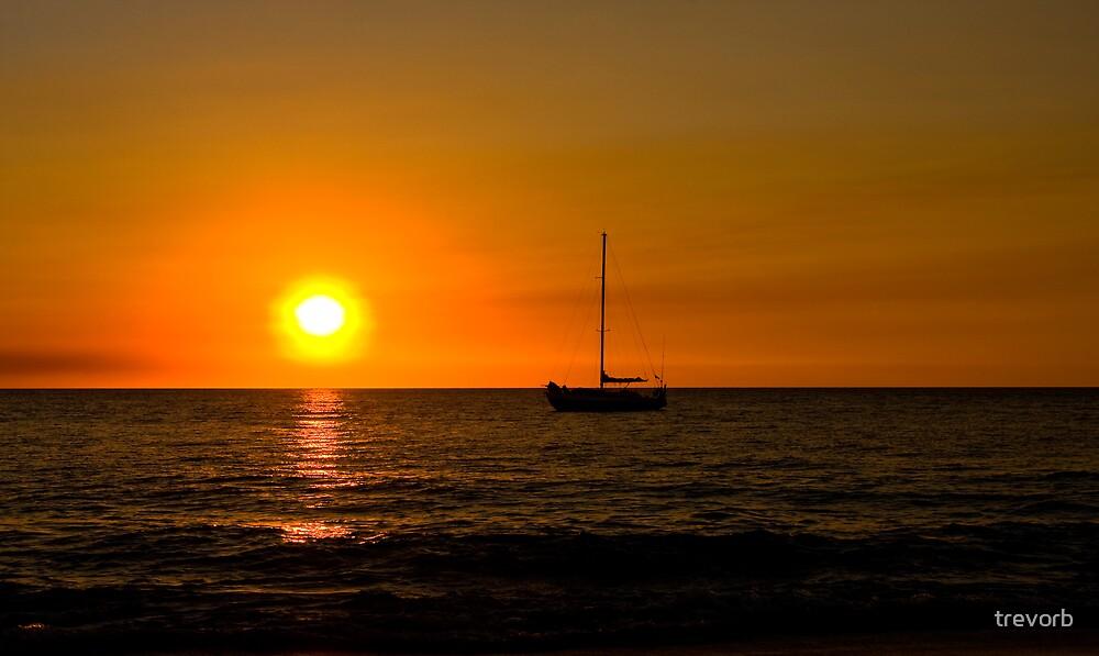 Sunset over yacht. by trevorb