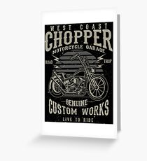 Chopper Motorcycle Retro Vintage Greeting Card