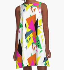 Fragmented Triangle Abstract Design A-Line Dress