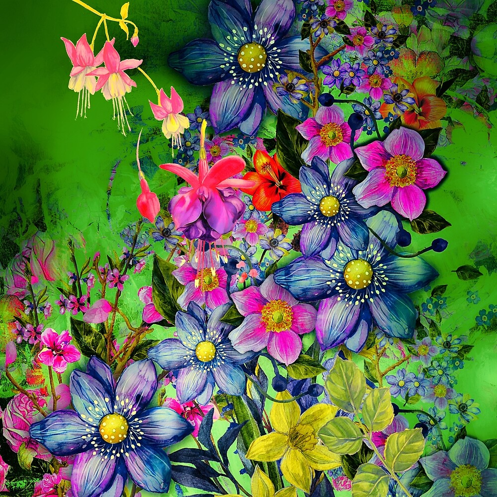 Fresh Colorful Spring Flowers Cool Girly Green Floral Pattern By
