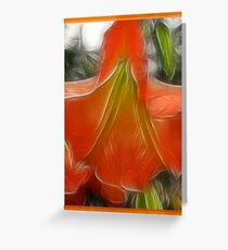 APRICOT ANGEL'S TRUMPET 'Fractalius' Greeting Card