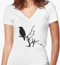 Little Birdy - Black Women's Fitted V-Neck T-Shirt