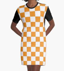 Orange Schachbrettmuster T-Shirt Kleid