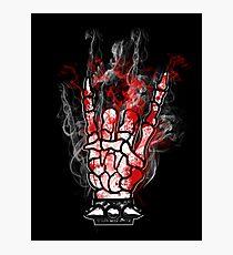 SKELETON METAL HORNS -  blood and smoke Photographic Print