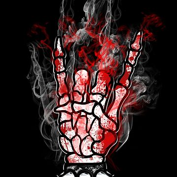 SKELETON METAL HORNS -  blood and smoke   *find unlisted gems in my portfolio* by sleepingmurder