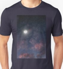 Glowing Moon on the night sky through pink clouds T-Shirt