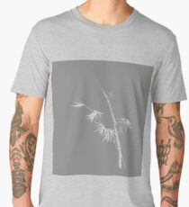 Beautiful simple Japanese Zen artwork design of bamboo with young leaves on light gray background art print Men's Premium T-Shirt