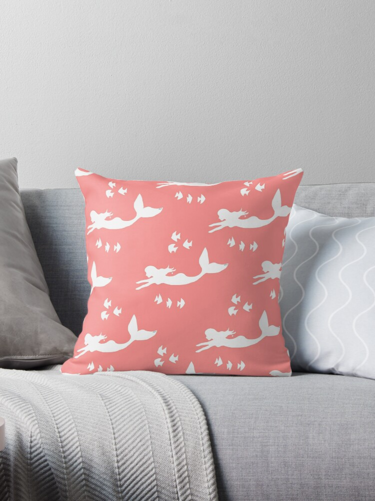 Mermaid Pattern Coral Pink by Abigail Davidson