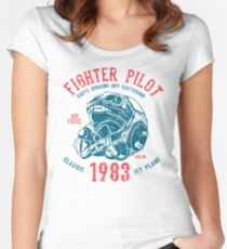 Jet Plane Fighter Pilot Retro Vintage Women's Fitted Scoop T-Shirt