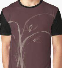 Exquisite artistic floral design print in oriental Japanese Zen style of wild orchid flowers on dark red burgundy background art print Graphic T-Shirt