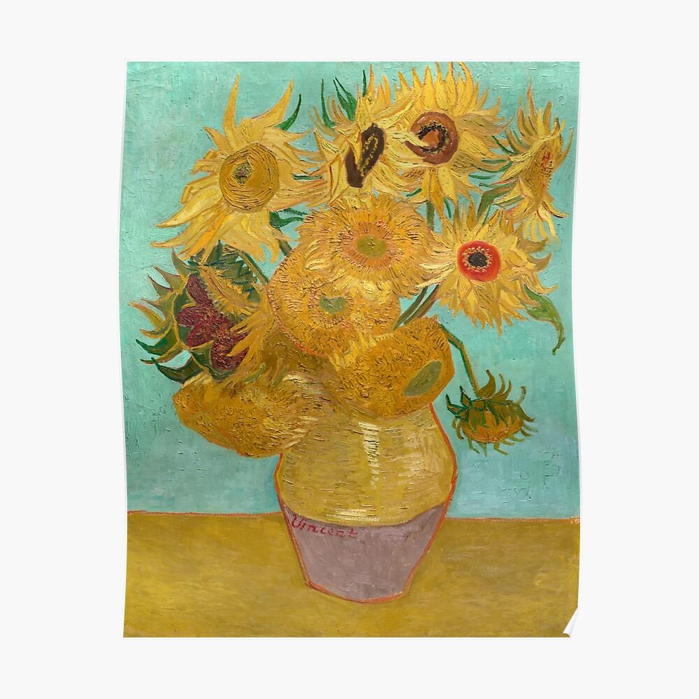 Vase mit zwölf Sonnenblumen von Vincent Van Gogh 1889 Poster