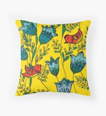 Red Birds & Blue Flowers Floor Pillow