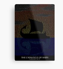 The Iliad - Catalogue of Ships Typography Metal Print