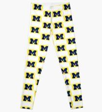 Watercolor Michigan Block M  Leggings