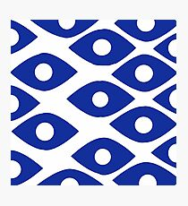 BLUE AND WHITE EYE PATTERN Photographic Print