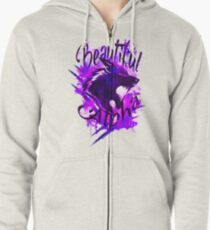 Beautiful Alpha Wolf Purple Zipped Hoodie