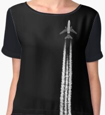 PLANE WITH CONTRAILS Women's Chiffon Top