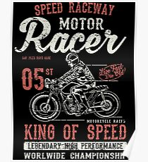 Motorcycle Racer Retro Vintage Poster