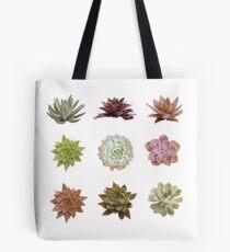 Succulent Pattern, Realistic Watercolor Succulent Art Tote Bag