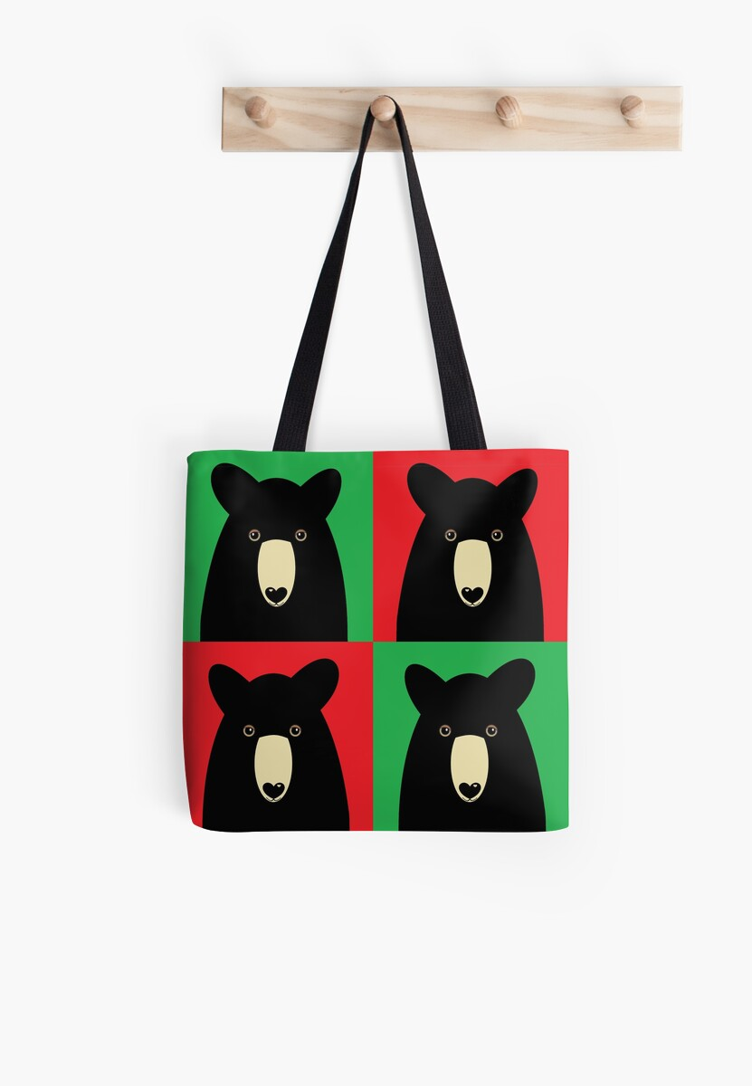 BLACK BEAR ON RED & GREEN by Jean Gregory  Evans