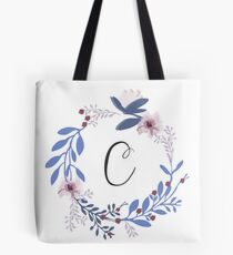 Flowers and the Letter C Tote Bag