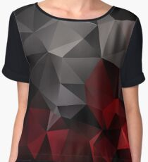 Abstract background of triangles polygon wallpaper in black red colors Women's Chiffon Top