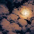 Full moon through purple clouds by Victoria Avvacumova