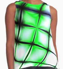 Green bended grid Sleeveless Top