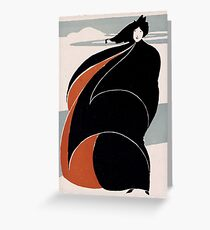 Lady in black and red coat 134 Greeting Card