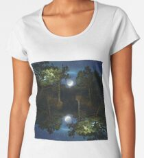 Moonset in coniferous forest Women's Premium T-Shirt