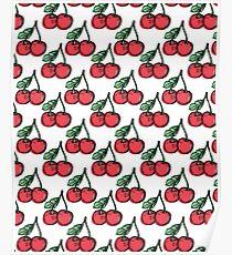 """Cherry Picked"" Cherries Pattern Print on Black // Hand Drawn Food Art Poster"