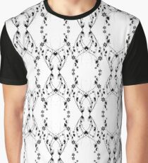 black and gray floral Graphic T-Shirt