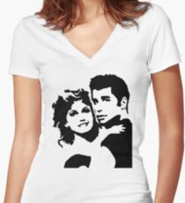 John Travolta Grease Women's Fitted V-Neck T-Shirt