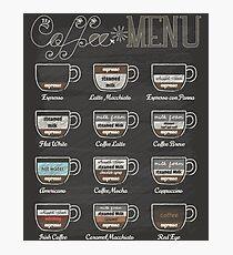 Coffee Shop Menu Photographic Print