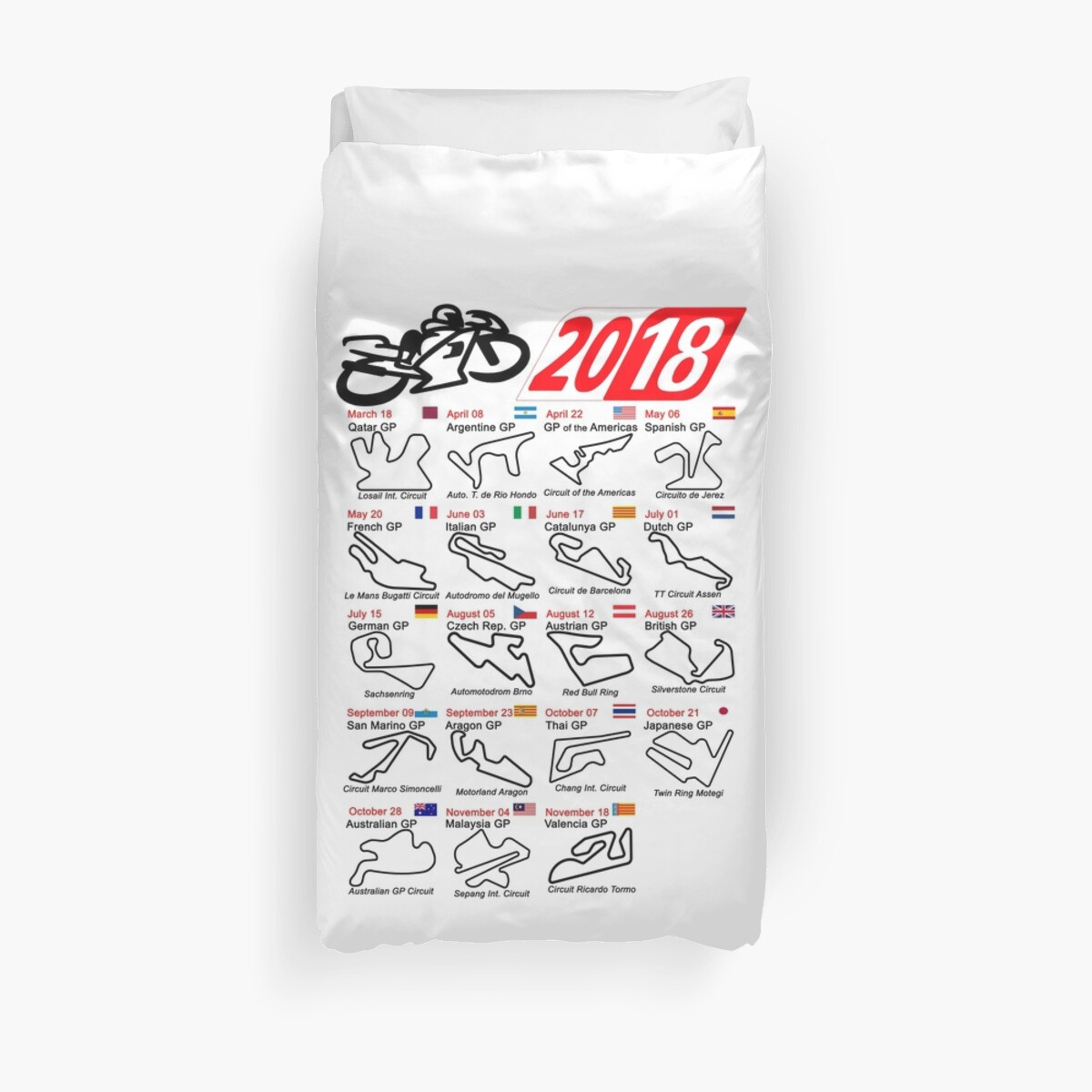Calendar 2018 Motogp Named Circuits White Duvet Covers By