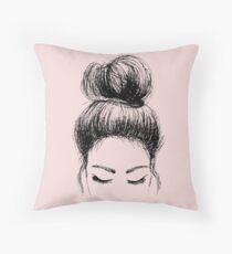 Messy Bun Throw Pillow