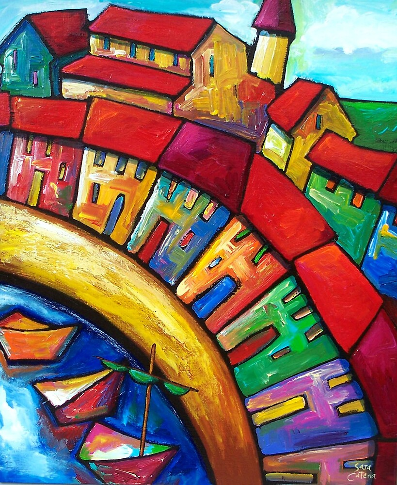 ANCIENT  GENOA  BY  THE  SEA by ART PRINTS ONLINE         by artist SARA  CATENA