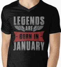 Legends Are Born In January Mens V Neck T Shirt