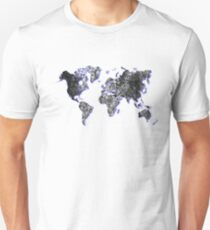 Grungy World Map With Blue Shadow T-Shirt