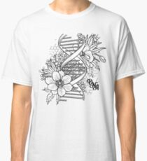 Graphic DNA structure with floral design Classic T-Shirt