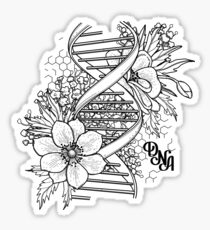 Grafische DNA-Struktur mit Blumenmuster Glänzender Sticker