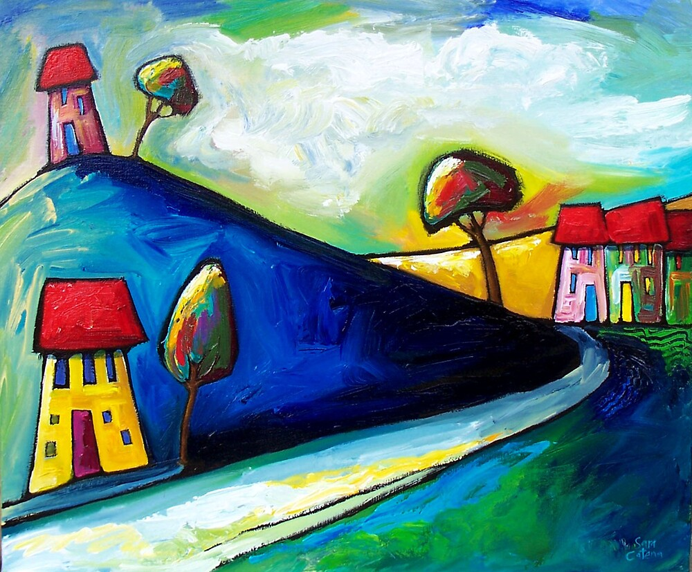 SUN  ON  THE  ROAD by ART PRINTS ONLINE         by artist SARA  CATENA