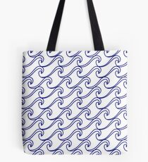 Rough Sea Pattern - blue on white Tote Bag